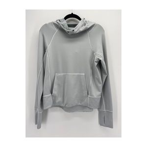 Athleta Gray and White Striped Funnel Neck Hoodie
